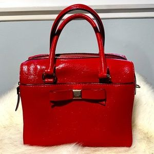 Kate Spade red patten leather satchel bag